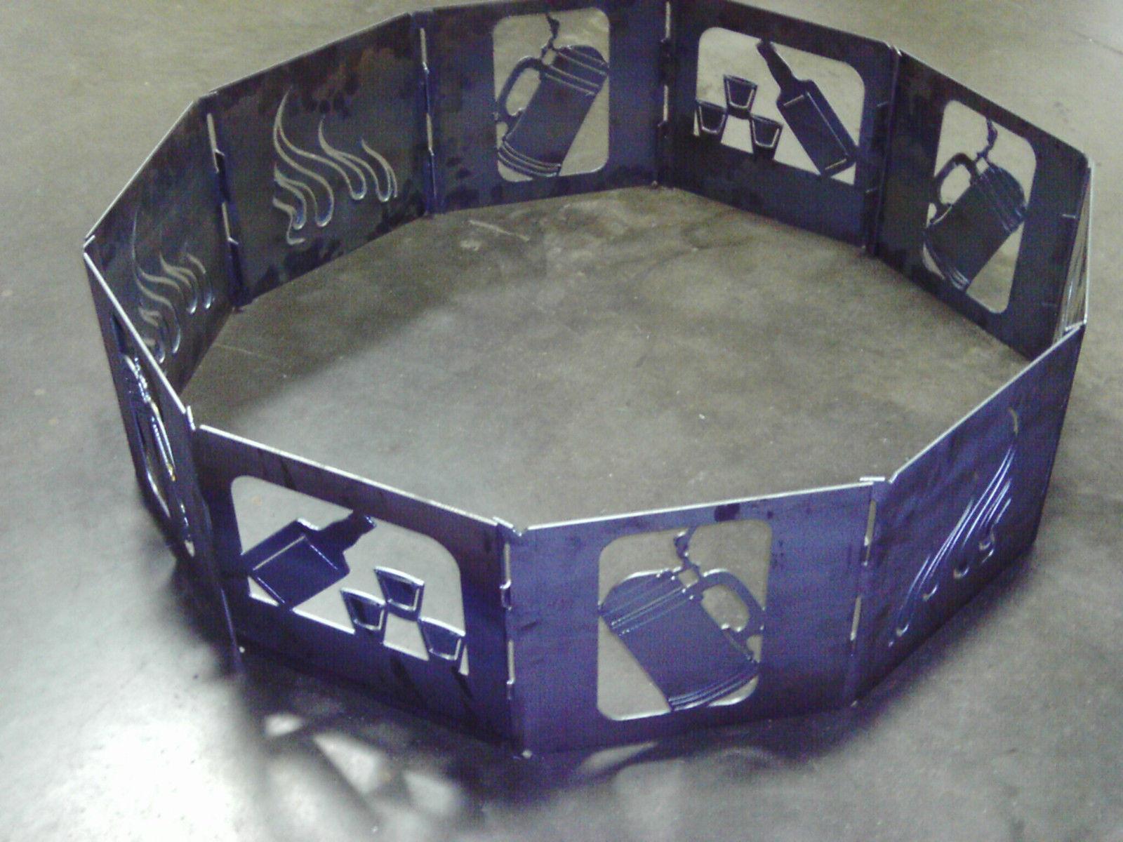 Campfire fire pit ring 40 decagon stein bottle heavy duty steel 10 panels